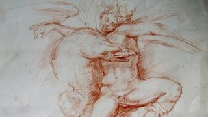 Eric Hebborn forgery,  sanguine drawing, after a design by Michelangelo, Eagle and Figure,