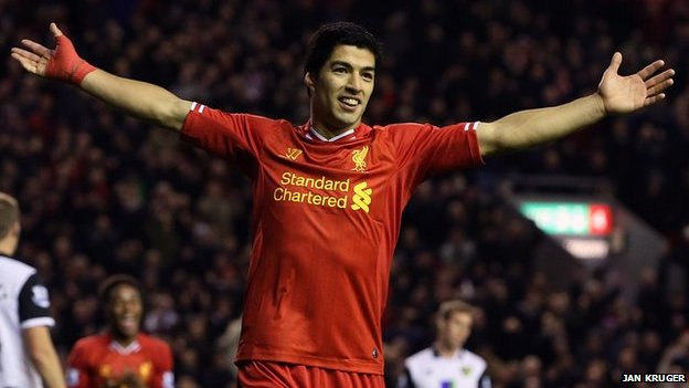 Luis Suarez celebrates scoring for Liverpool against Norwich