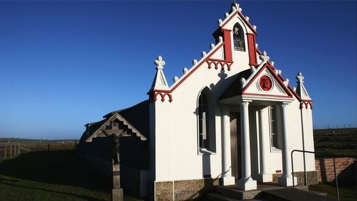 Italian chapel in Orkney, were the plaques were stolen from