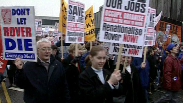 Longbridge protest in Birmingham city centre in the 1990s