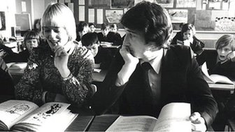 Jeremy Paxman with BBC Spotlight colleague Gillian Chambers in 1970s