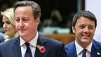 David Cameron with the Italian prime minister Matteo Renzi in Brussels