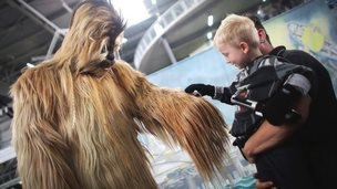 A character dressed as a Wookiee from Star Wars