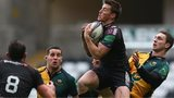 Jeff Hassler of Ospreys rises above George North