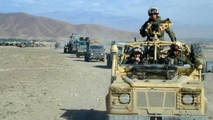 Convoy from 45 Commando Royal Marines makes its way through the Afghan countryside during Operation Snipe in the south east region of Afghanistan in May 2002