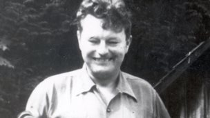 Malcolm Lowry outside his cabin in Dollarton, Vancouver, 1940s