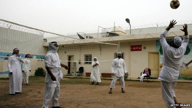 Former al-Qaeda militants play volleyball at the Care rehabilitation centre in Riyadh, Saudi Arabia on 15 April 2009