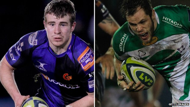 Newport Gwent Dragons' Jonathan Evans and Newcastle Falcons' Will Welch