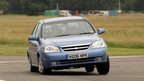 A car racing around a track