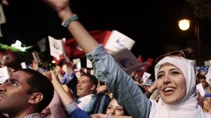 A supporter of the Islamist Ennahda movement shouts slogans during a campaign event in Tunis October 24, 2014