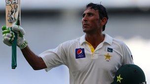 Pakistan's Younus Khan celebrates his century
