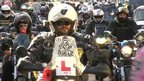 Motorcyclist ride in protest through the centre of Norwich