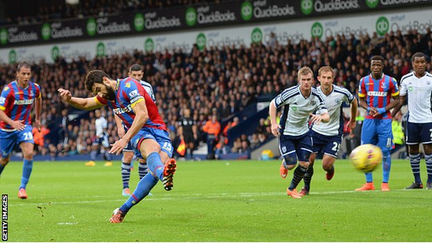 Mile Jedinak scored his second penalty of the season to give Crystal Palace a 2-0 half-time lead at West Bromwich Albion