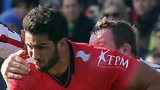 Toulon's oustanding centre Maxime Mermoz tries to break clear of Ulster's Roger Wilson