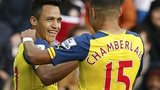 Arsenal's Alexis Sanchez and Alex Oxlade-Chamberlain celebrate