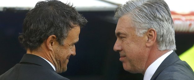 Barcelona coach Luis Enrique (left) and Real Madrid counterpart Carlo Ancelotti