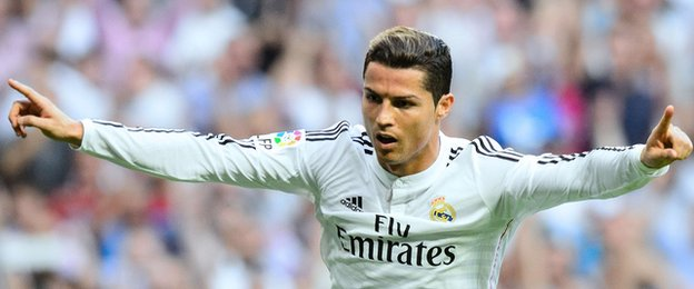 Real Madrid forward Cristiano Ronaldo celebrates scoring a penalty against Barcelona