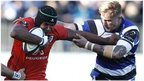Toulouse captain Thierry Dusautoir tries to hand off Bath's Dom Day
