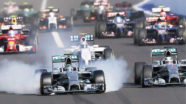 Lewis Hamilton leads the Russian Grand Prix