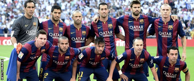Luis Suarez and the rest of the Barcelona team