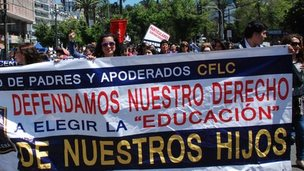 Confepa march in Vaparaiso, Chile, on October 11, 2014