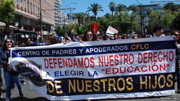 Chile marches against education bill...