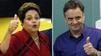 A combination photo shows presidential candidates President Dilma Rousseff (left)and Aecio Neves gesturing to photographers after voting on 5 October, 2014