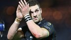 George North applauds the crowd at Northampton