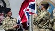 British troops lower the last Union flag in Helmand Province, Afghanistan