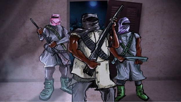 Animated Boko Haram members