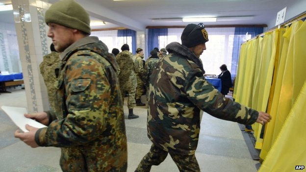 Ukrainian servicemen vote in Kramatorsk, Donetsk region - 26 October
