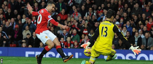 Manchester United's Robin Van Persie is denied by Chelsea's Thibaut Courtois