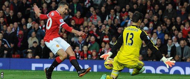 Manchester United's Robin Van Persie is denied by Chelsea's Thibaut Courtois