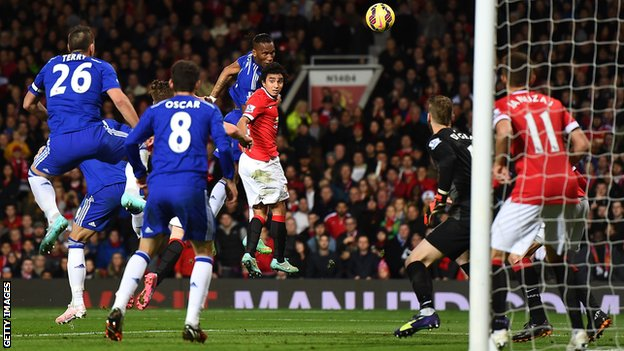 Chelsea's Didier Drogba scores against Manchester United