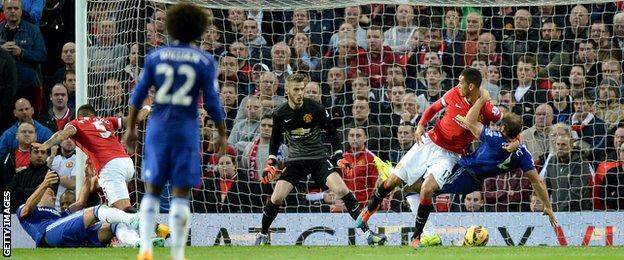 Chelsea's Branislav Ivanovic claims a penalty against Manchester United