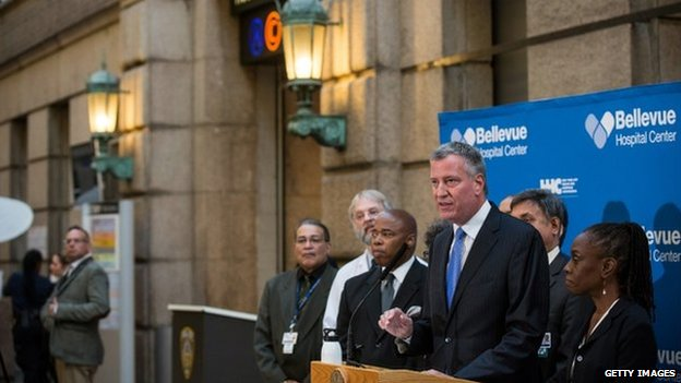 New York City Mayor Bill de Blasio speaks at a press conference at Bellvue Hospital regarding the ongoing situation with Dr Craig Spencer on 26 October 2014 in New York City.