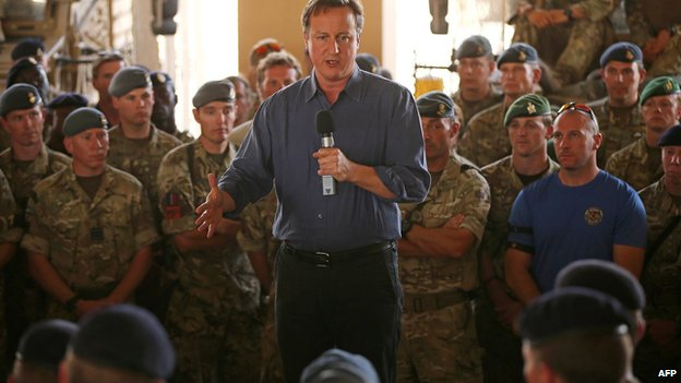 Prime Minister David Cameron addresses British troops at Camp Bastion in Afghanistan on 3 October 2014