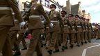 39 Regiment Royal Artillery marches through Hexham
