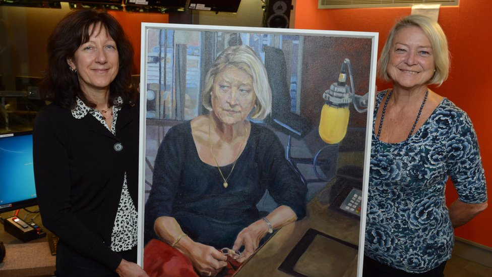 Stella Tooth and Kate Adie holding the portrait