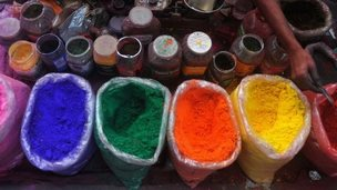 Powdered colours sold on the street in India