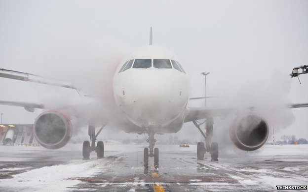 plane landing on icy runway