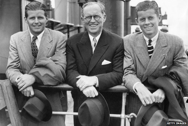 John F Kennedy with father Joe and brother Robert in the UK in 1938