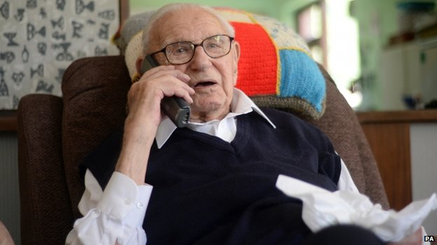 Czech Kindertransport founder Sir Nicholas Winton pictured at his home in Maidenhead