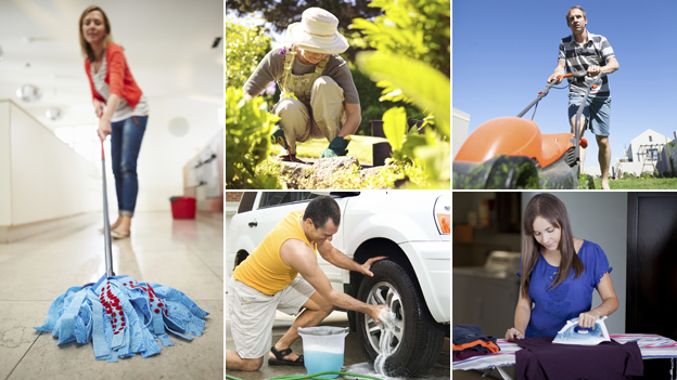 Clockwise from left: woman mopping; woman gardening; man mowing lawn; woman ironing; man washing car