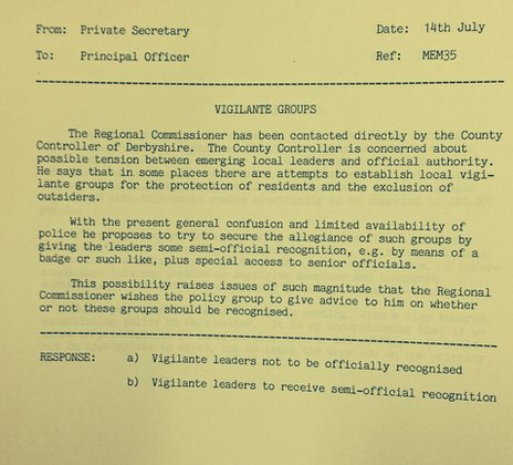 Photo of a document from the National Archives on the subject of vigilante groups