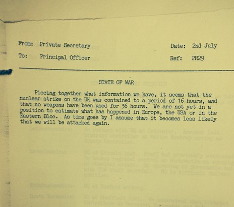 Photo of a National Archives document, dated 2 July, imagining a nuclear attack