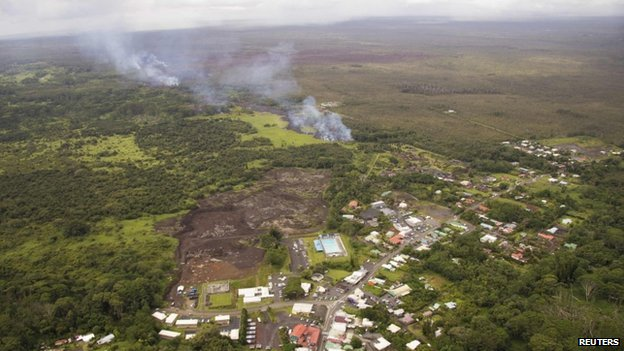 The lava flow from the Kilauea Volcano is seen nearing residential areas in a U.S. Geological Survey (USGS) image taken near the village of Pahoa, Hawaii 27 October 2014