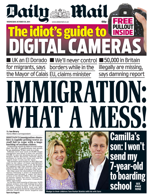 news telegraph mail headline migrants cost contribution