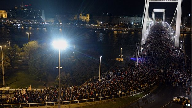 Protesters in Budapest