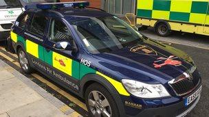 Parked ambulance car